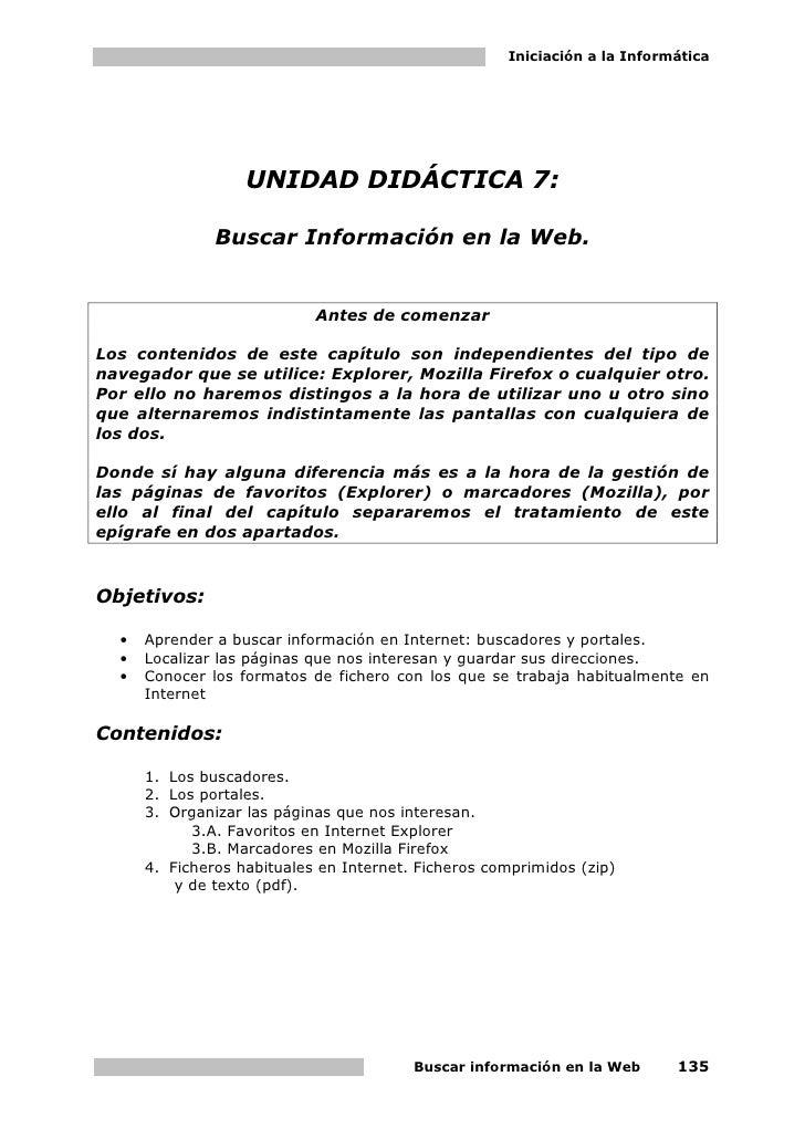 Iniciación a la Informática                        UNIDAD DIDÁCTICA 7:                 Buscar Información en la Web.      ...