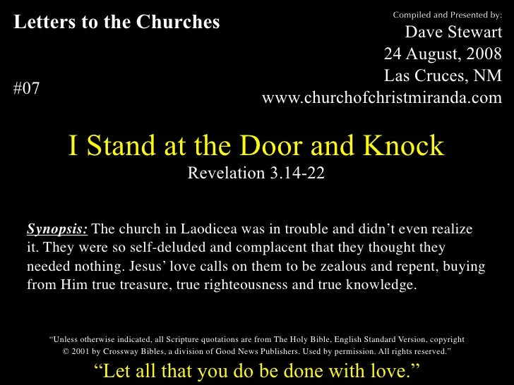 Compiled and Presented by: Letters to the Churches                                                          Dave Stewart  ...