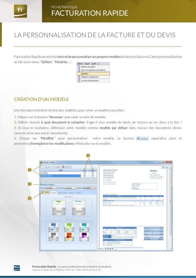 Fr Fr FACTURATION RAPIDE  FICHE PRATIQUE  Facturation Rapide - La personnalisation de la facture et du devis  Support et a...