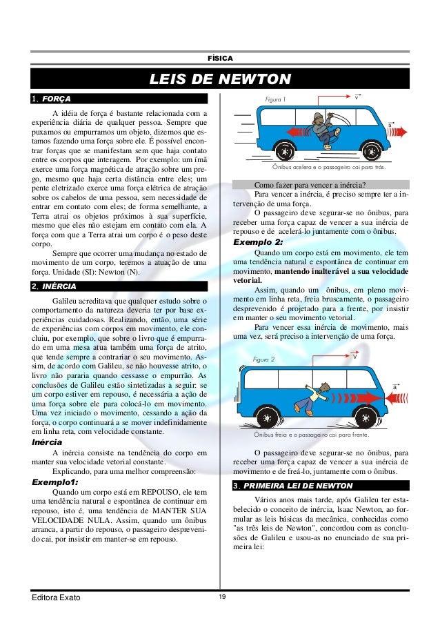 FÍSICA Editora Exato 19 LEIS DE NEWTON 1. FORÇA A idéia de força é bastante relacionada com a experiência diária de qualqu...