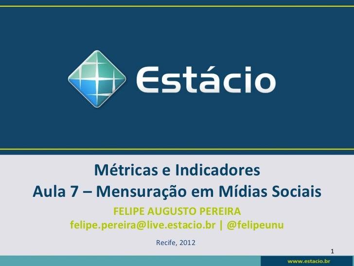 Métricas e Indicadores Aula 7 – Mensuração em Mídias Sociais                 FELIPE AUGUSTO PEREIR...