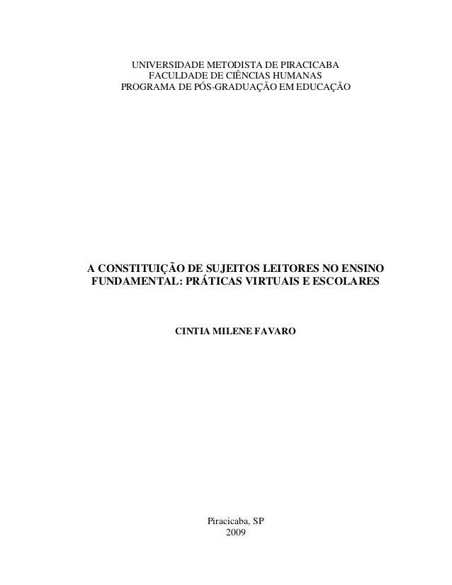 UNIVERSIDADE METODISTA DE PIRACICABA          FACULDADE DE CIÊNCIAS HUMANAS     PROGRAMA DE PÓS-GRADUAÇÃO EM EDUCAÇÃOA CON...