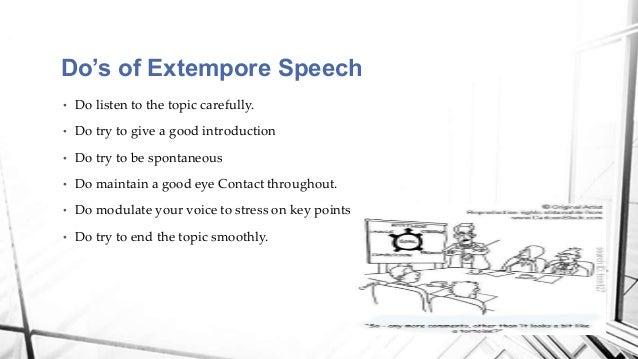 good topics for extempore speech