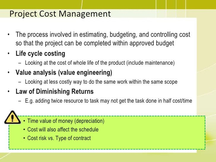 project cost management Project cost management includes the processes involved in planning, estimating, budgeting, and read more.
