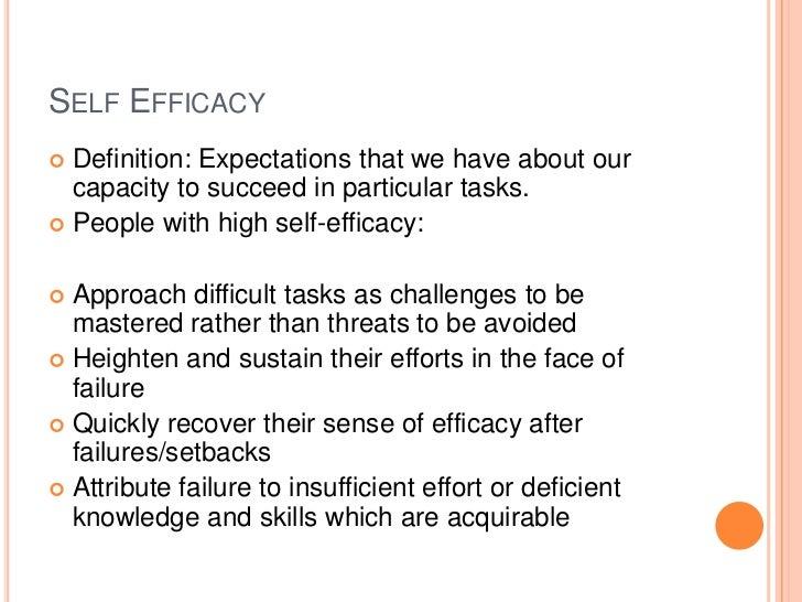 Marvelous 6. SELF EFFICACY Definition: Expectations ...