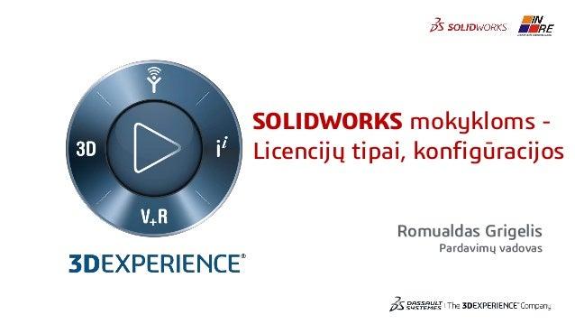 Romualdas Grigelis Pardavimų vadovas SOLIDWORKS mokykloms - Licencijų tipai, konfigūracijos