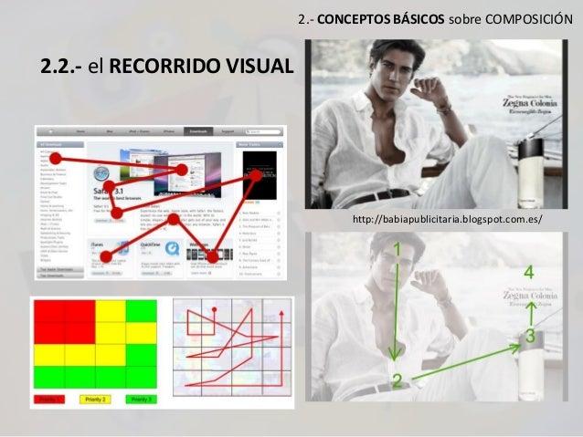 2.- CONCEPTOS BÁSICOS sobre COMPOSICIÓN 2.2.- el RECORRIDO VISUAL http://babiapublicitaria.blogspot.com.es/
