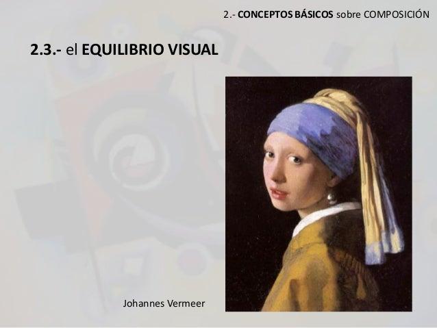 2.- CONCEPTOS BÁSICOS sobre COMPOSICIÓN 2.3.- el EQUILIBRIO VISUAL Johannes Vermeer