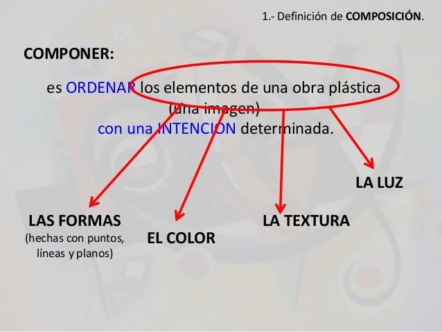 COMPONER: es ORDENAR los elementos de una obra plástica (una imagen) con una INTENCIÓN determinada. LAS FORMAS (hechas con...