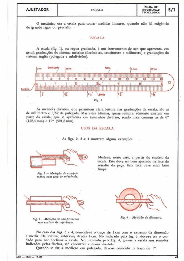 AJUSTADOR  FGLHA DE INFORMACÃO TECNOLÓGICA  ESCALA  51 1  O mecânico usa a escala para tomar medidas lineares, quando não ...