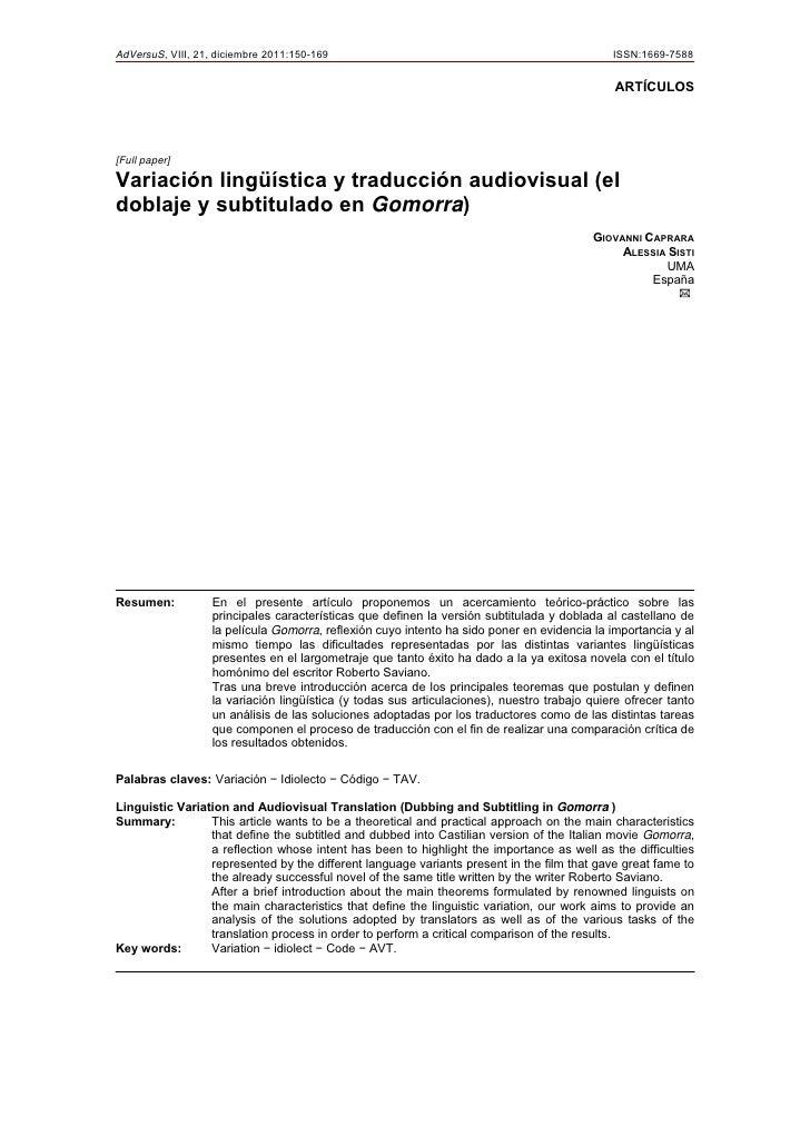 AdVersuS, VIII, 21, diciembre 2011:150-169                                                    ISSN:1669-7588              ...