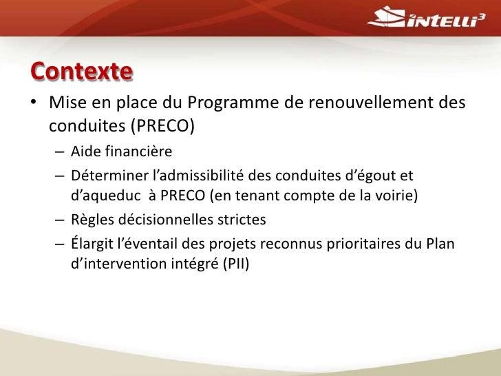 Évaluation de l'admissibilité des réseaux municipaux au programme de renouvellement des conduites d'eau potable et d'égout d'une municipalité Slide 2