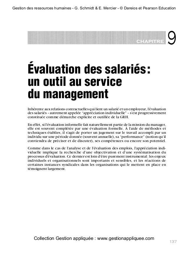 9chapitre 137 Évaluation des salariés: un outil au service du management Inhérente aux relations contractuelles qui lient ...