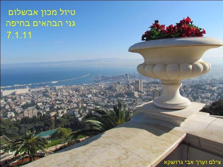 טיול מכון אבשלום  גני הבהאים בחיפה 7.1.11   צילם וערך אבי גרושקא