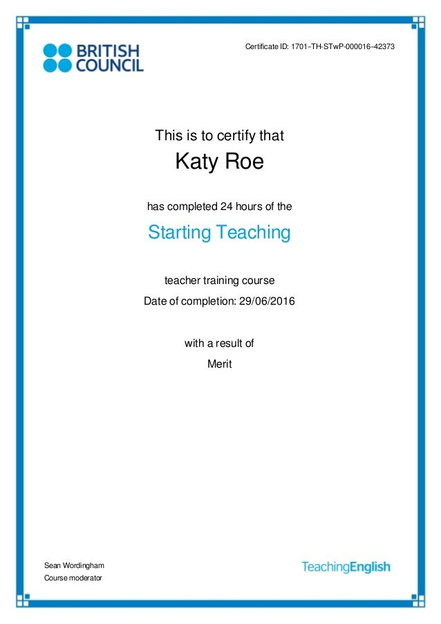 British Council Starting Teaching Certificate