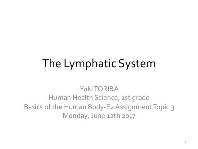 The  Lymphatic  System Yuki  TORIBA   Human  Health  Science,  1st  grade   Basics  of  the  Human...