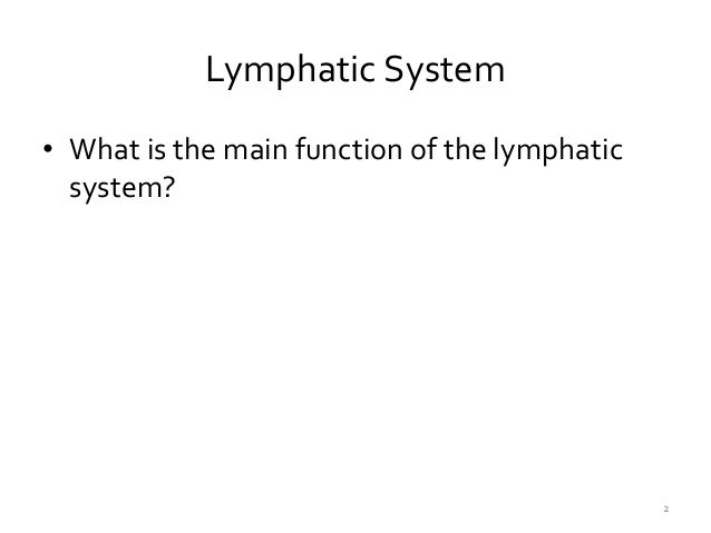 The Lymphatic System Slide 2