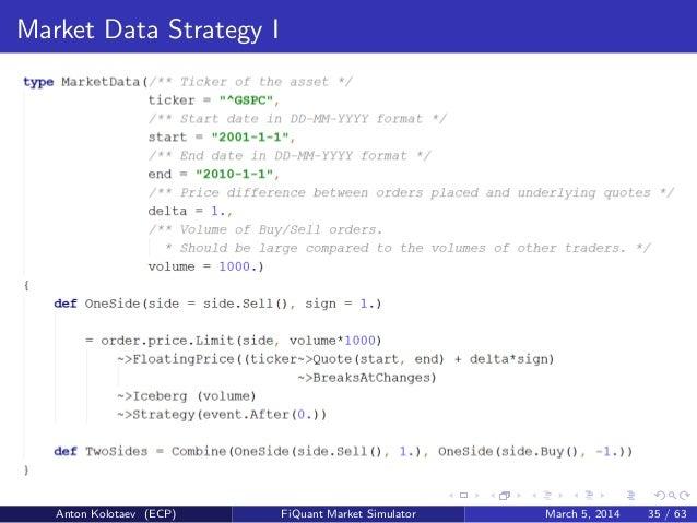 Fiquant Market Microstructure Simulator Strategy Definition Language