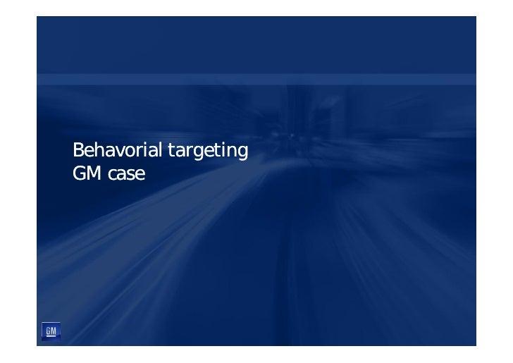 Behavorial targeting GM case