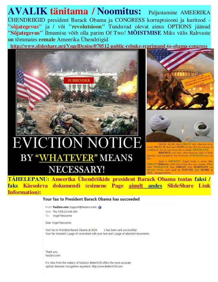 AVALIK tänitama / Noomitus:                          Paljastamine AMEERIKAÜHENDRIIGID president Barack Obama ja CONGRESS k...