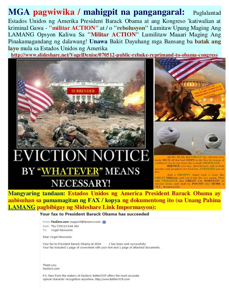 MGA pagwiwika / mahigpit na pangangaral:                           PaglalantadEstados Unidos ng Amerika President Barack O...