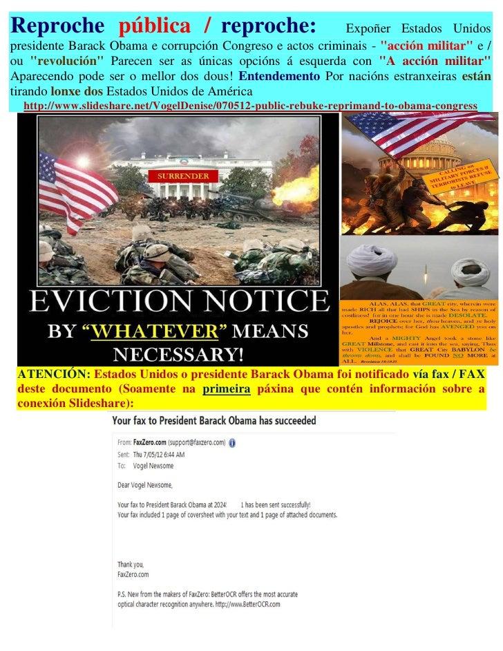 Reproche pública / reproche:                               Expoñer Estados Unidospresidente Barack Obama e corrupción Cong...