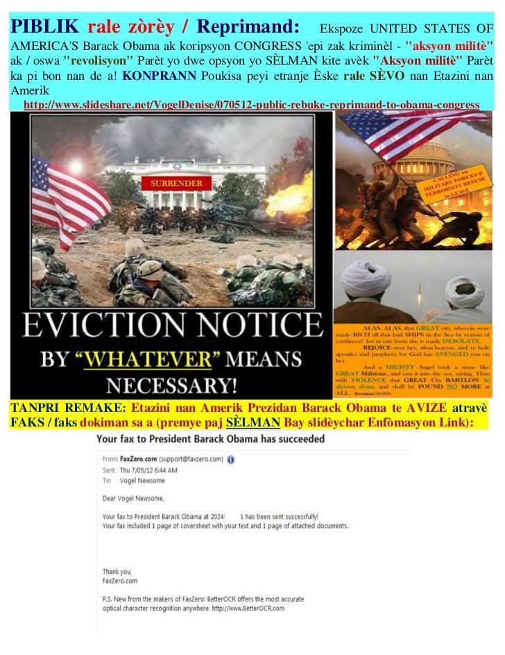 PIBLIK rale zòrèy / Reprimand:                       Ekspoze UNITED STATES OFAMERICAS Barack Obama ak koripsyon CONGRESS e...