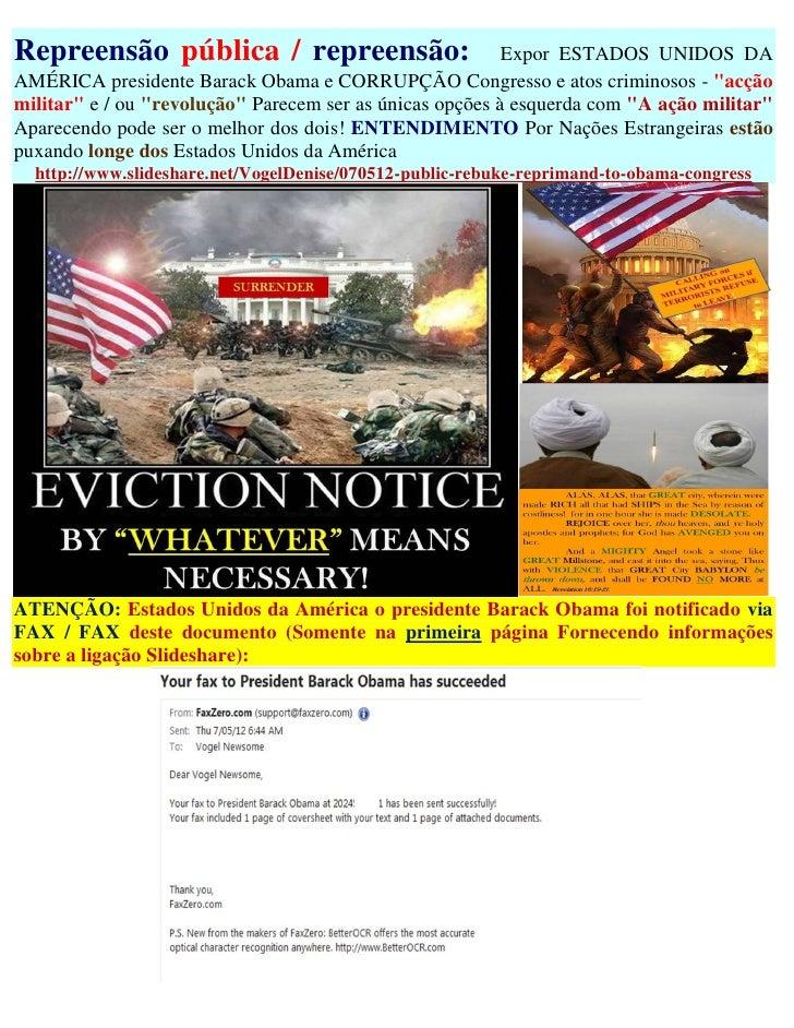 Repreensão pública / repreensão:                          Expor ESTADOS UNIDOS DAAMÉRICA presidente Barack Obama e CORRUPÇ...