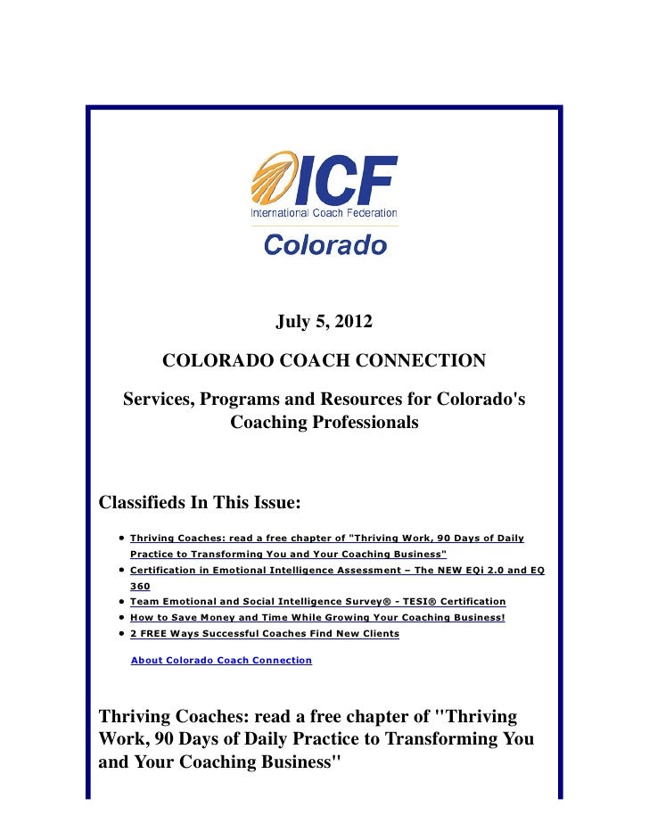 July 5, 2012          COLORADO COACH CONNECTION   Services, Programs and Resources for Colorados                Coaching P...