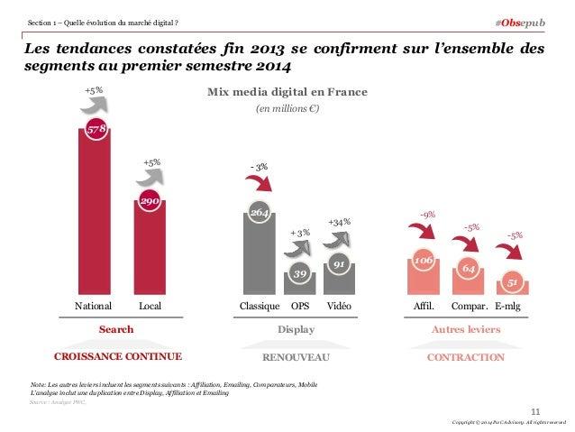 Les tendances constatées fin 2013 se confirment sur l'ensemble des segments au premier semestre 2014 Mix media digital en ...