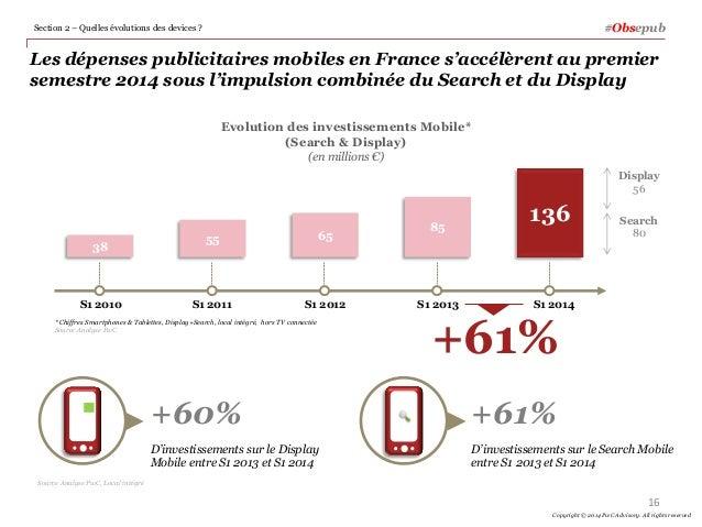 Les dépenses publicitaires mobiles en France s'accélèrent au premier semestre 2014 sous l'impulsion combinée du Search et ...