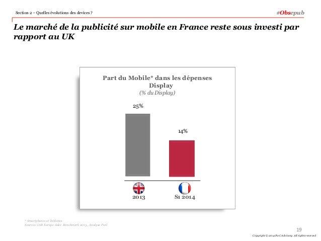 19 Copyright © 2014 PwC Advisory. All rights reserved #Obsepub Le marché de la publicité sur mobile en France reste sous i...