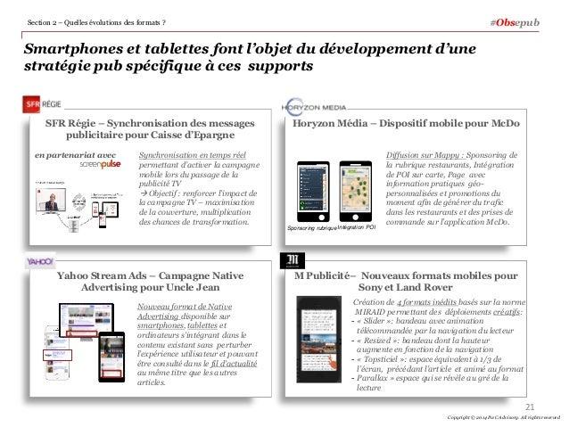 Smartphones et tablettes font l'objet du développement d'une stratégie pub spécifique à ces supports #ObsepubSection 2 – Q...