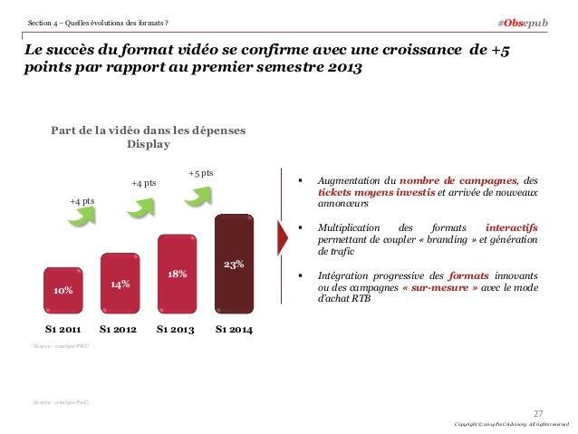 Le succès du format vidéo se confirme avec une croissance de +5 points par rapport au premier semestre 2013  Augmentation...