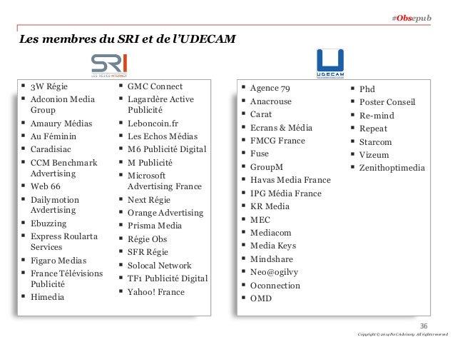 Les membres du SRI et de l'UDECAM  3W Régie  Adconion Media Group  Amaury Médias  Au Féminin  Caradisiac  CCM Benchm...