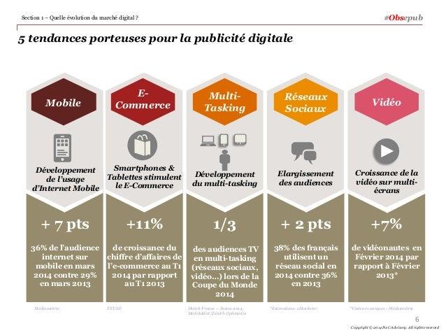5 tendances porteuses pour la publicité digitale Section 1 – Quelle évolution du marché digital ? 6 Copyright © 2014 PwC A...