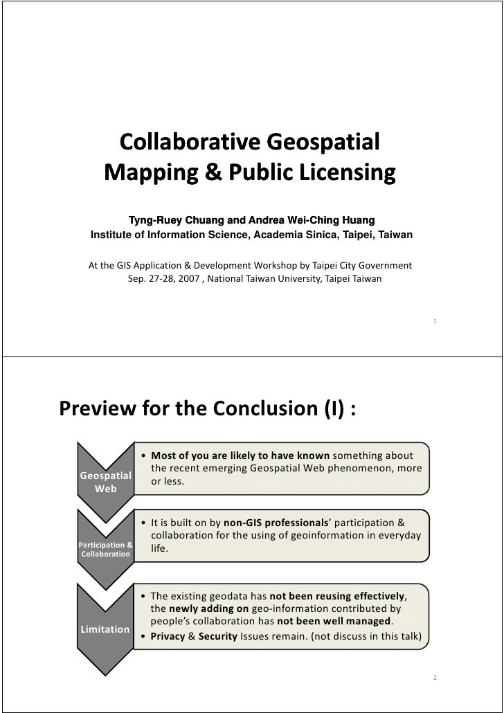 Collaborative Geospatial           Collaborative Geospatial           Mapping & Public Licensing          Mapping & Public...