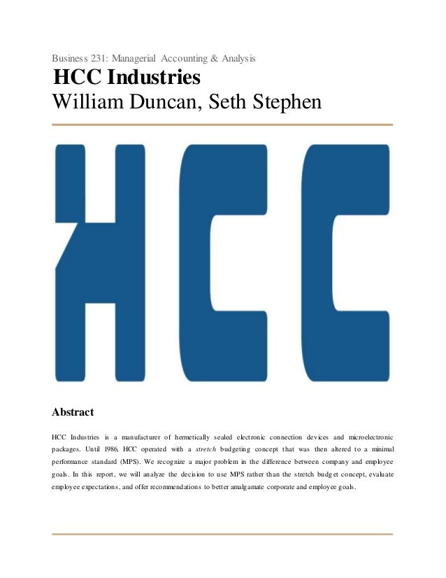 hcc industries case solution
