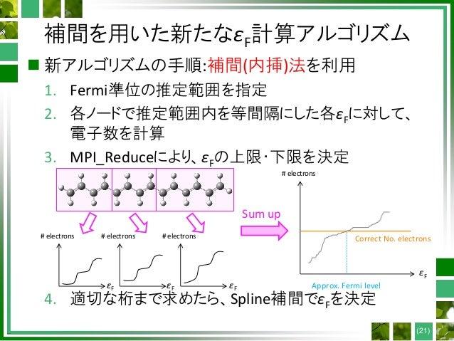 補間を用いた新たなεF計算アルゴリズム  新アルゴリズムの手順:補間(内挿)法を利用 1. Fermi準位の推定範囲を指定 2. 各ノードで推定範囲内を等間隔にした各εFに対して、 電子数を計算 3. MPI_Reduceにより、εFの上限・...
