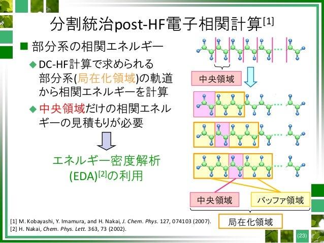 分割統治post-HF電子相関計算[1]  部分系の相関エネルギー DC-HF計算で求められる 部分系(局在化領域)の軌道 から相関エネルギーを計算 中央領域だけの相関エネル ギーの見積もりが必要 (23) 局在化領域 中央領域 バッファ...