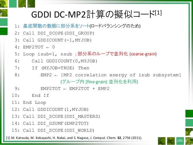 GDDI DC-MP2計算の擬似コード[1] 1: 基底関数の数順に部分系をソート(ロードバランシングのため) 2: Call DDI_SCOPE(DDI_GROUP) 3: Call GDDICOUNT(-1,MYJOB) 4: EMP2TO...