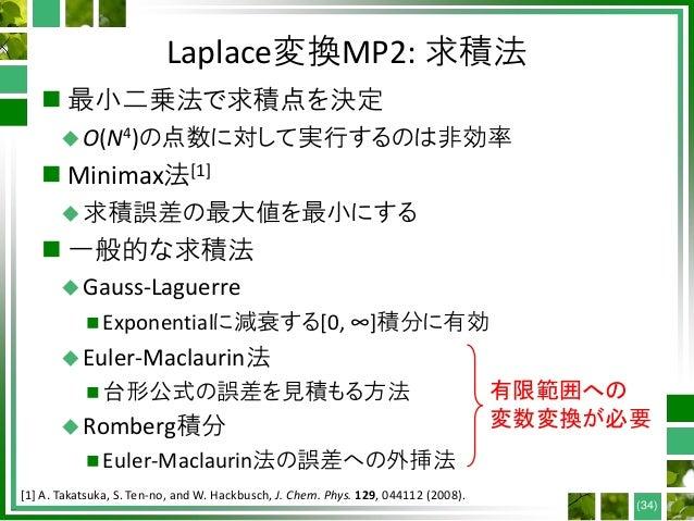Laplace変換MP2: 求積法  最小二乗法で求積点を決定 O(N4)の点数に対して実行するのは非効率  Minimax法[1] 求積誤差の最大値を最小にする  一般的な求積法 Gauss-Laguerre  Exponent...