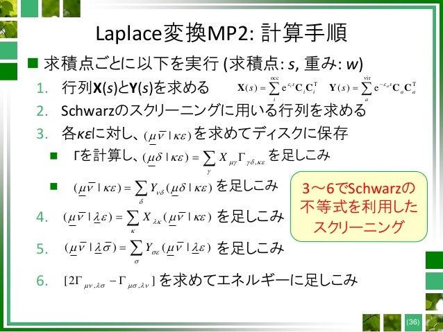 Laplace変換MP2: 計算手順  求積点ごとに以下を実行 (求積点: s, 重み: w) 1. 行列X(s)とY(s)を求める 2. Schwarzのスクリーニングに用いる行列を求める 3. 各κεに対し、 を求めてディスクに保存  ...