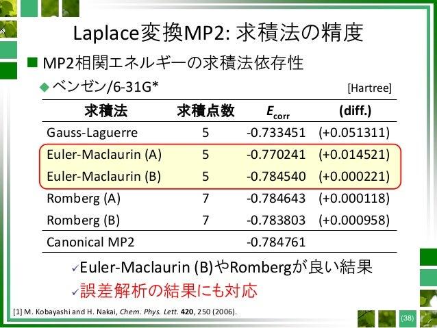 Laplace変換MP2: 求積法の精度  MP2相関エネルギーの求積法依存性 ベンゼン/6-31G* (38) 求積法 求積点数 Ecorr (diff.) Gauss-Laguerre 5 -0.733451 (+0.051311) E...