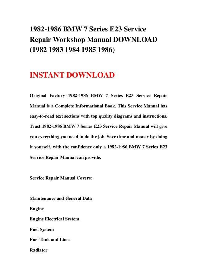 1982 1986 bmw 7 series e23 service repair workshop manual download 1