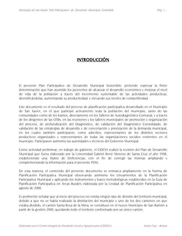 Municipio de San Xavier: Plan Participativo de Desarrollo Municipal Sostenible                       Pág. 1.-             ...