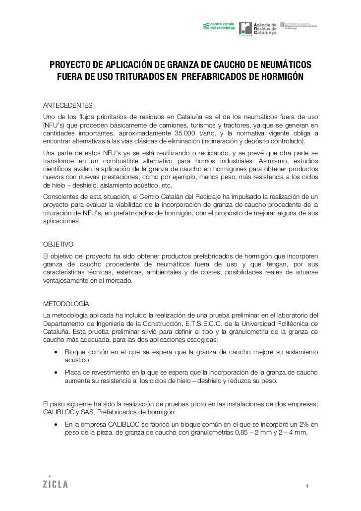 Proyecto de aplicaci n de granza de caucho de neum ticos for Neumaticos fuera de uso
