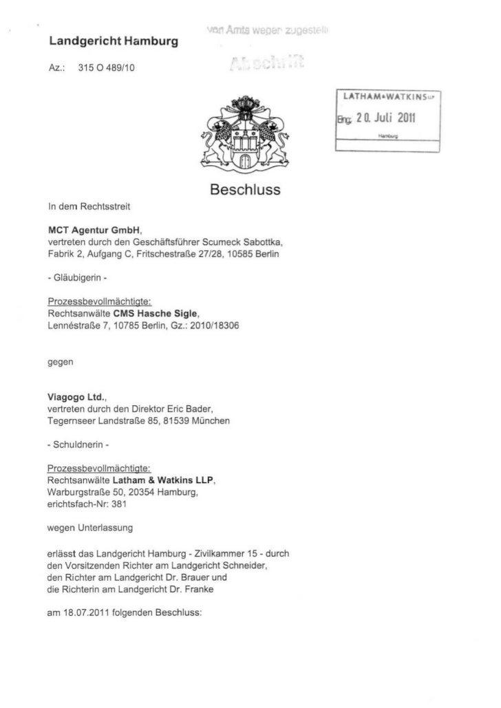 VO! Amts     welle   ZLandgericht HamburgAz.:    3150489/10                                           ,   .               ...