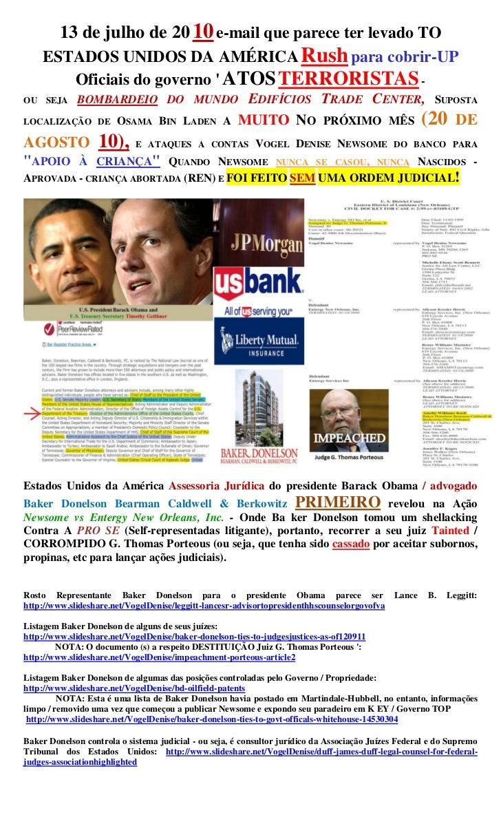 13 de julho de 20 10 e-mail que parece ter levado TO    ESTADOS UNIDOS DA AMÉRICA Rush para cobrir-UP       Oficiais do go...