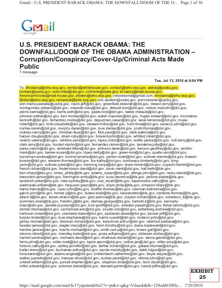 Gmail - U.S. PRESIDENT BARACK OBAMA: THE DOWNFALL/DOOM OF THE O... Page 1 of 36U.S. PRESIDENT BARACK OBAMA: THEDOWNFALL/DO...